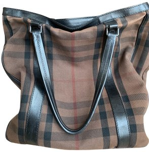 Burberry Tote in Black and tan with a red accent stripe