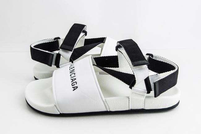 Item - White Logo-debossed Leather Sandals Shoes