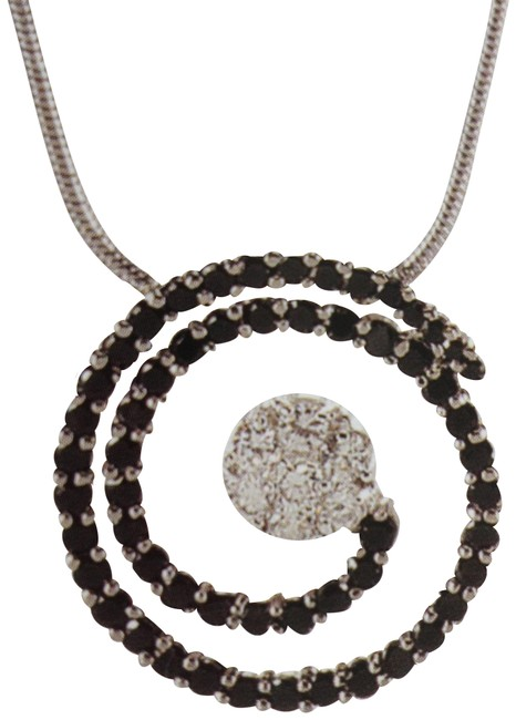 """Item - Black and Clear Cz """"Kiam"""" Collection Swirl Necklace"""