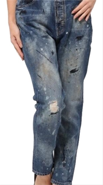 Item - Worn Paint Wash Distressed Mister Slouch Straight Leg Jeans Size 2 (XS, 26)