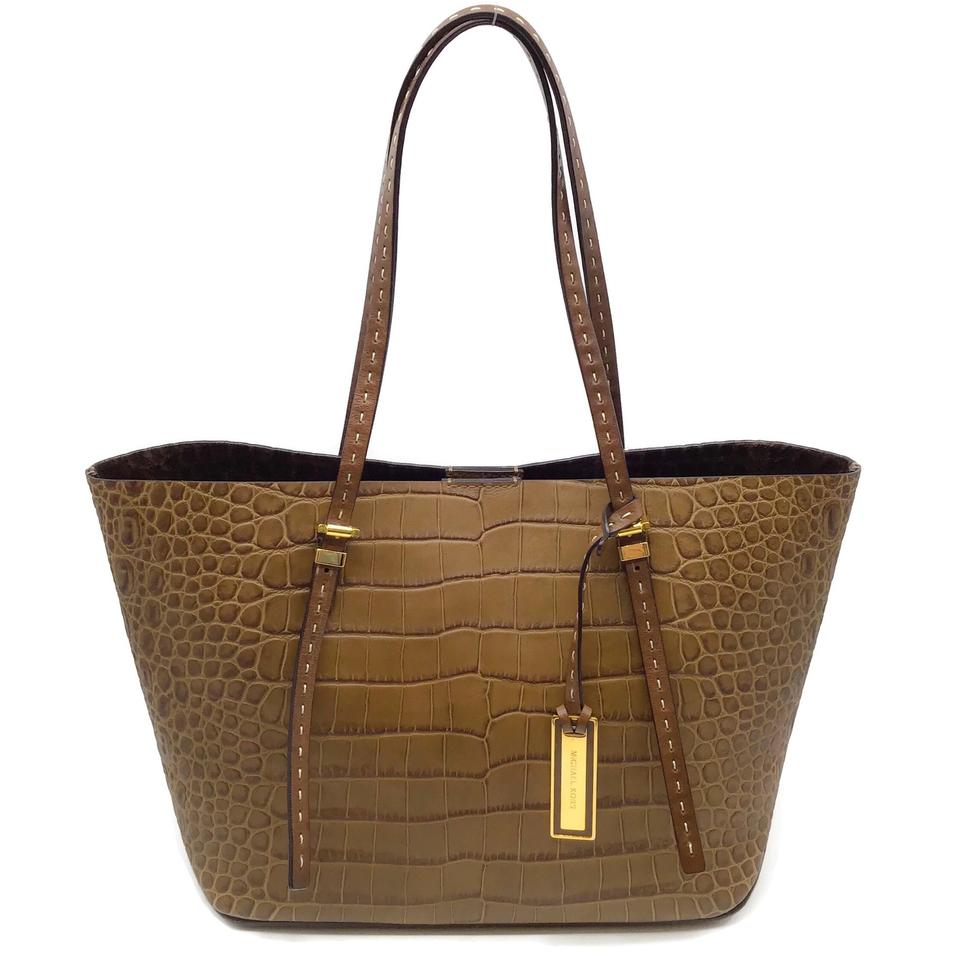 55f1a80fe568 Michael Kors Collection Gia Croc Embossed Brown Leather Tote - Tradesy