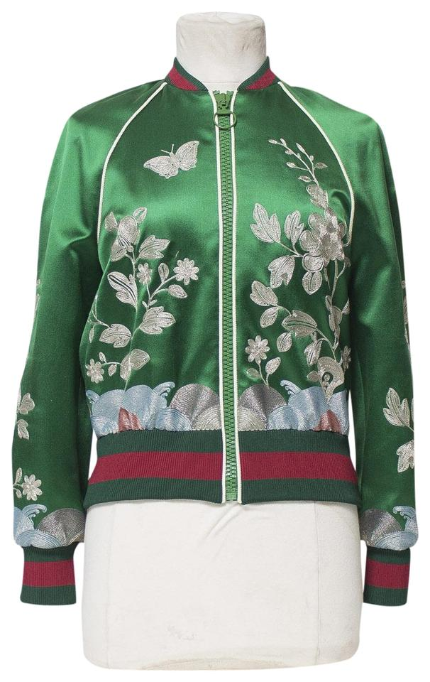 551cf4ad9 Gucci Green Women's Embroidered Bomber Jacket Size 4 (S) - Tradesy