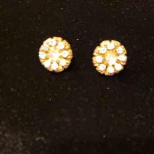 Miriam Haskell Vintage '50s Gold/CZ Flower Clip Earrings
