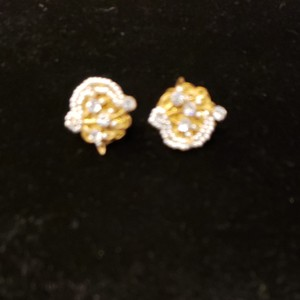 Miriam Haskell Vintage '50s Unique Gold/CZ/Pearl Earrings