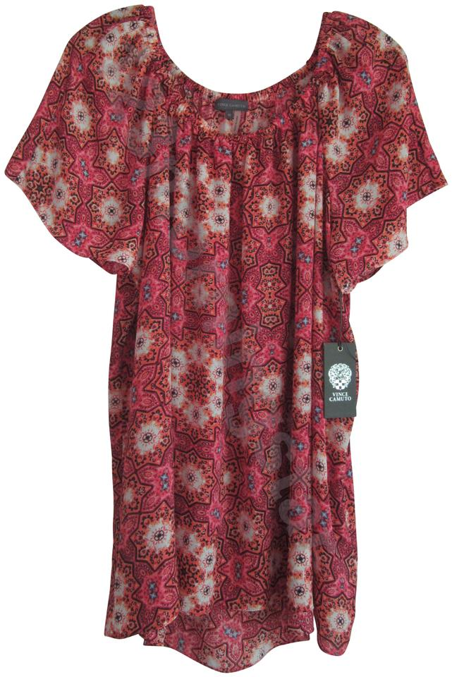 495fffd6619e0f Vince Camuto Multi-color Coral Medallion Print Off-shoulders Smocked Peasant  Style No. 9835009 Tunic