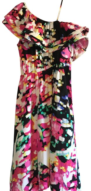 Item - Pink Black Salsa One Open Shoulder Ruffles Tiered Layered Draped High Low Festival Dance Mid-length Night Out Dress Size 4 (S)