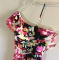 H&M Pink Black Salsa One Open Shoulder Ruffles Tiered Layered Draped High Low Festival Dance Mid-length Night Out Dress Size 4 (S) H&M Pink Black Salsa One Open Shoulder Ruffles Tiered Layered Draped High Low Festival Dance Mid-length Night Out Dress Size 4 (S) Image 3