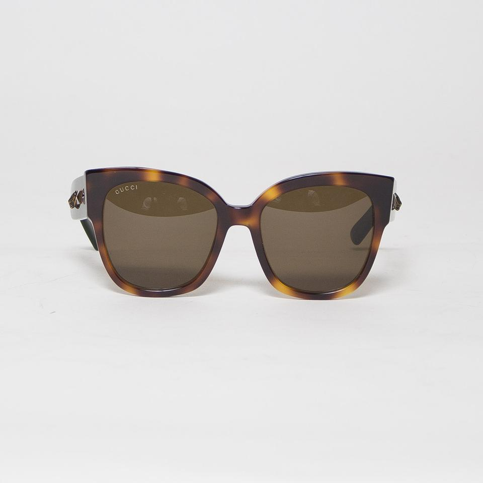 66677a532ec Gucci Brown Square-frame Oversize Gg0059s with Web Sunglasses - Tradesy