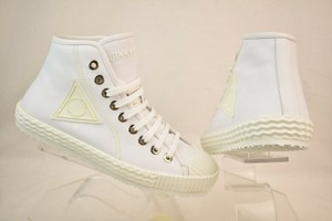 Jimmy Choo White Seb Ultra Leather Rubber Toe Lace Up Hi Top Sneakers 43.5 10.5 Shoes