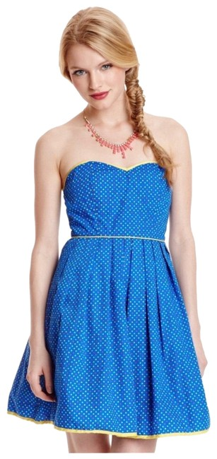Item - Blue Multi Strapless A-line Retro Short Casual Dress Size 4 (S)