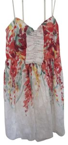 London Times short dress Floral Shower White Ruffle on Tradesy