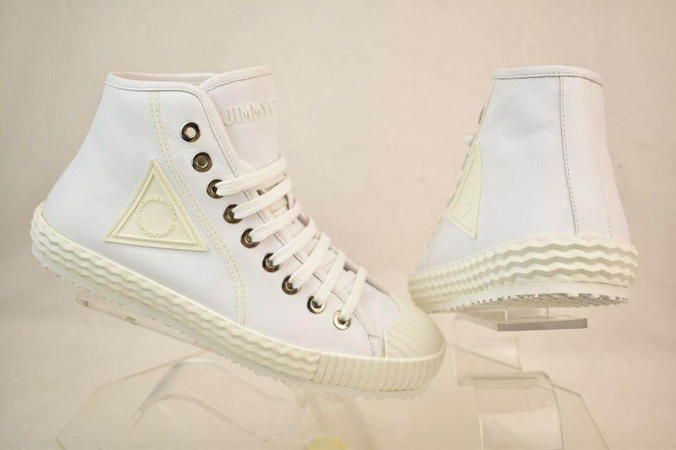 8f40a42fcae4c Jimmy Choo White Seb Ultra Leather Rubber Toe Lace Up Hi Top Sneakers 45 12  Shoes ...