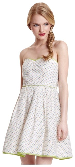 Item - White Multi Strapless A-line Retro Short Casual Dress Size 0 (XS)