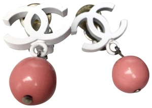 Chanel Chanel Vintage White Enamel CC Pink Ball Clip On Earrings