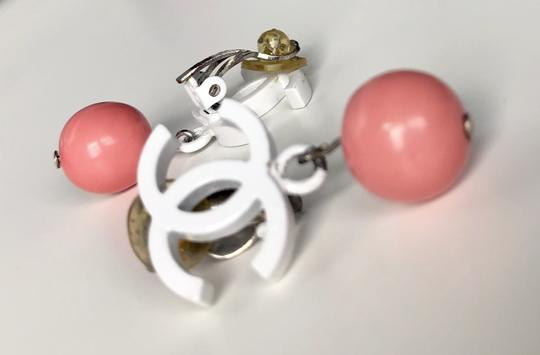 Chanel Chanel Vintage White Enamel CC Pink Ball Clip On Earrings Image 1