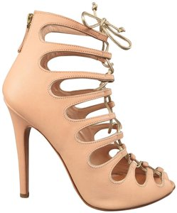 a68c10a22 Giambattista Valli Leather Heels Peep Toe Sandals Lace Up Pink Pumps