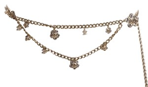 Chanel Chanel Gold-Tone Chain Link Crystal Charm Belt