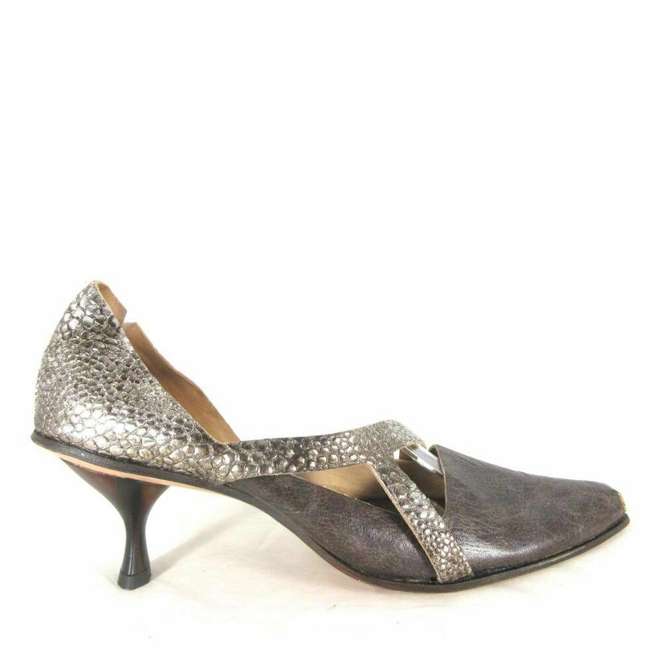 5667e9dcdba CYDWOQ Pewter and Brown   Leather Handmade Cut Out Heels New Pumps ...