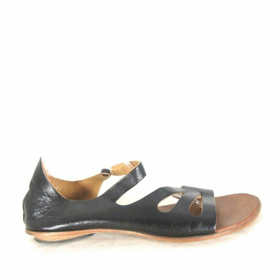 cd6086ce81e CYDWOQ Black Leather Cut Out Handmade Sandals Size EU 39.5 (Approx ...