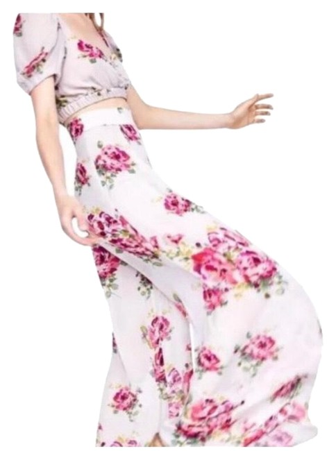 Item - Cream and Pink Floral High Waist Palazzo Super Flared Worn Once In Like New Condition Pants Size 2 (XS, 26)