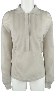 Giorgio Armani Cashmere Sheer Half Button Ribbed Sweater