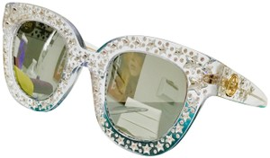 b913de2256 Gucci New GUCCI GG0116S 001 Crystal Gold Studded Sunglasses