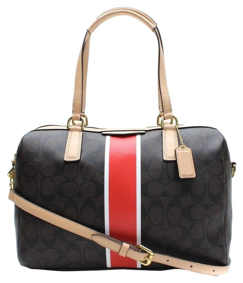 quite nice differently sneakers Coach Nancy Signature Stripe Convertible 30662 Brown Red Coated Canvas  Leather Satchel 52% off retail