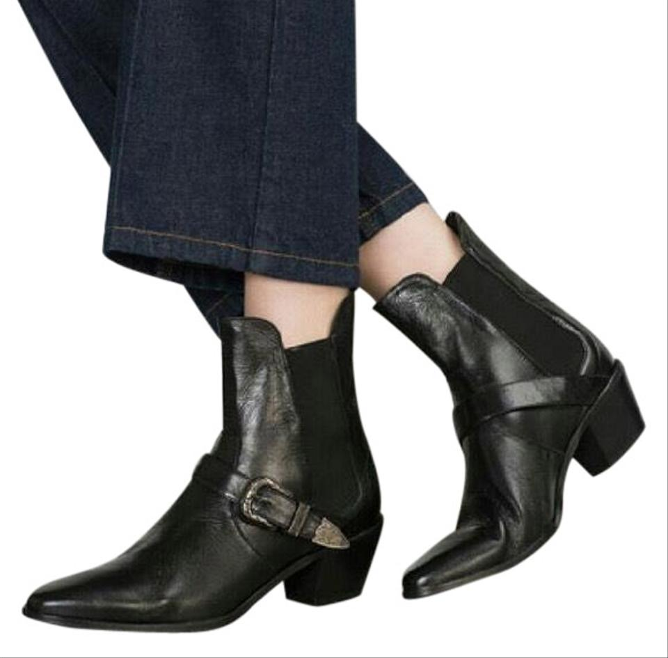 5ea6ab8ff73 Zara Black Western Buckle Cowboy Leather Boots/Booties Size US 8 ...