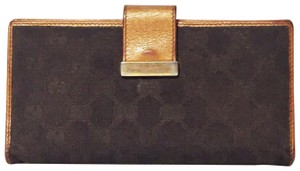 Gucci Gucci orange metallic leather and monogram long wallet
