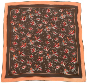 Gucci Brown & Coral Sparrow Bird Silk Scarf