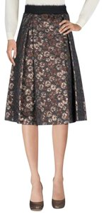 ottod'Ame A Line Flare Floral Gold Skirt brown