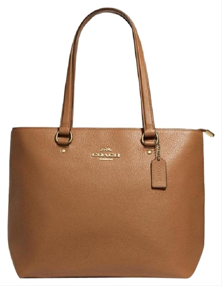 Coach Bag Bay Pebble Brown Leather Tote 49 Off Retail