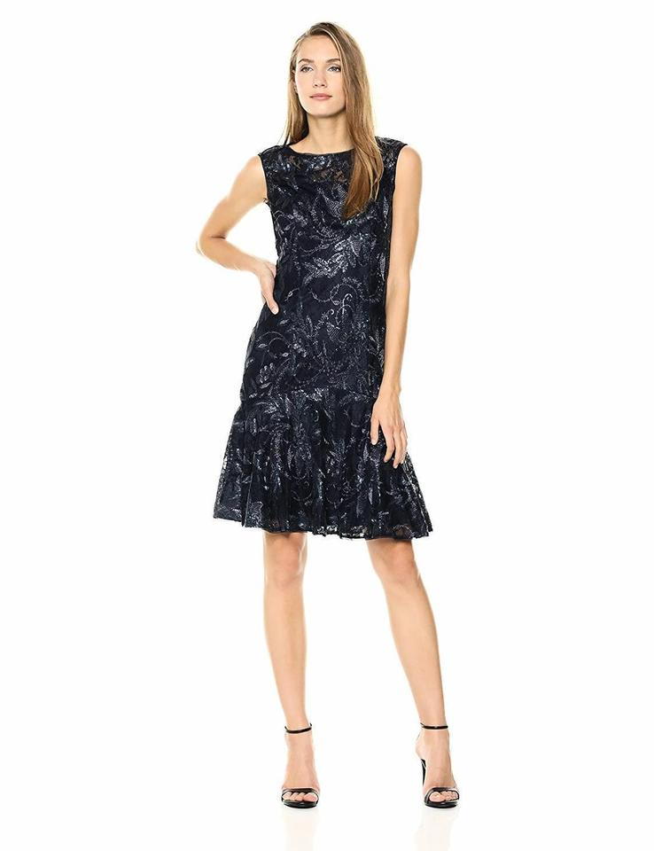 Adrianna Papell Black Women S Sequin Fl With Trumpet Sk Short Tail Dress Size 8 M 56 Off Retail