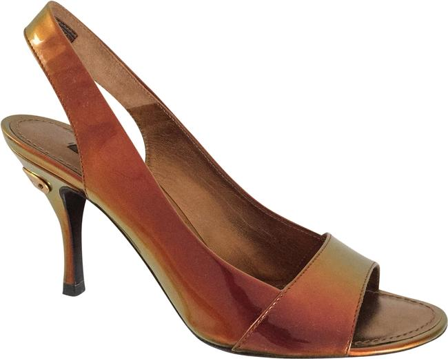 Item - Summer Runway Amber Gold Green Metallic Iridescent Patent Leather Square Front Sandals Size EU 37 (Approx. US 7) Regular (M, B)