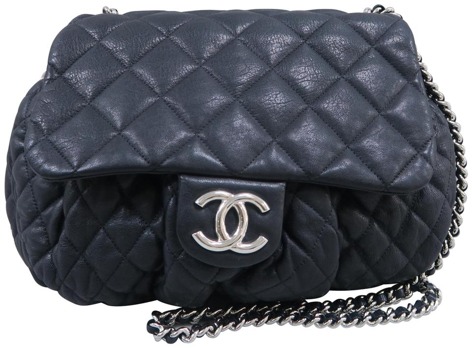 2731a690fb4c5a Chanel Chain Around Large Black Calfskin Leather Shoulder Bag - Tradesy