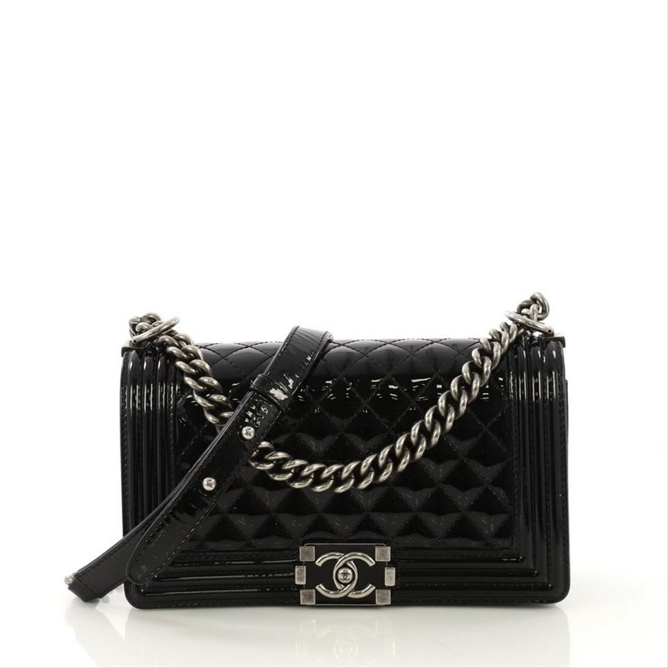 fe3ce8a36473c1 Chanel Classic Flap Boy Quilted Old Medium Black Patent Leather Shoulder Bag