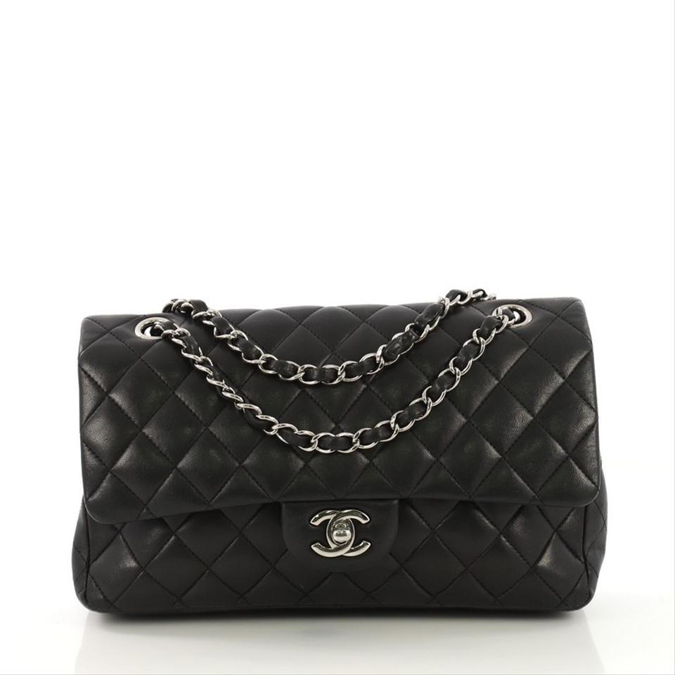3ddb6af44a6b Chanel Classic Flap Classic Double Quilted Medium Black Lambskin Shoulder  Bag