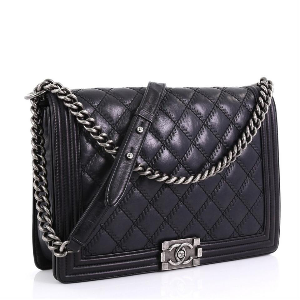 38a903ead9c747 Chanel Classic Flap Boy Double Stitch Quilted Large Black Calfskin Leather  Shoulder Bag - Tradesy