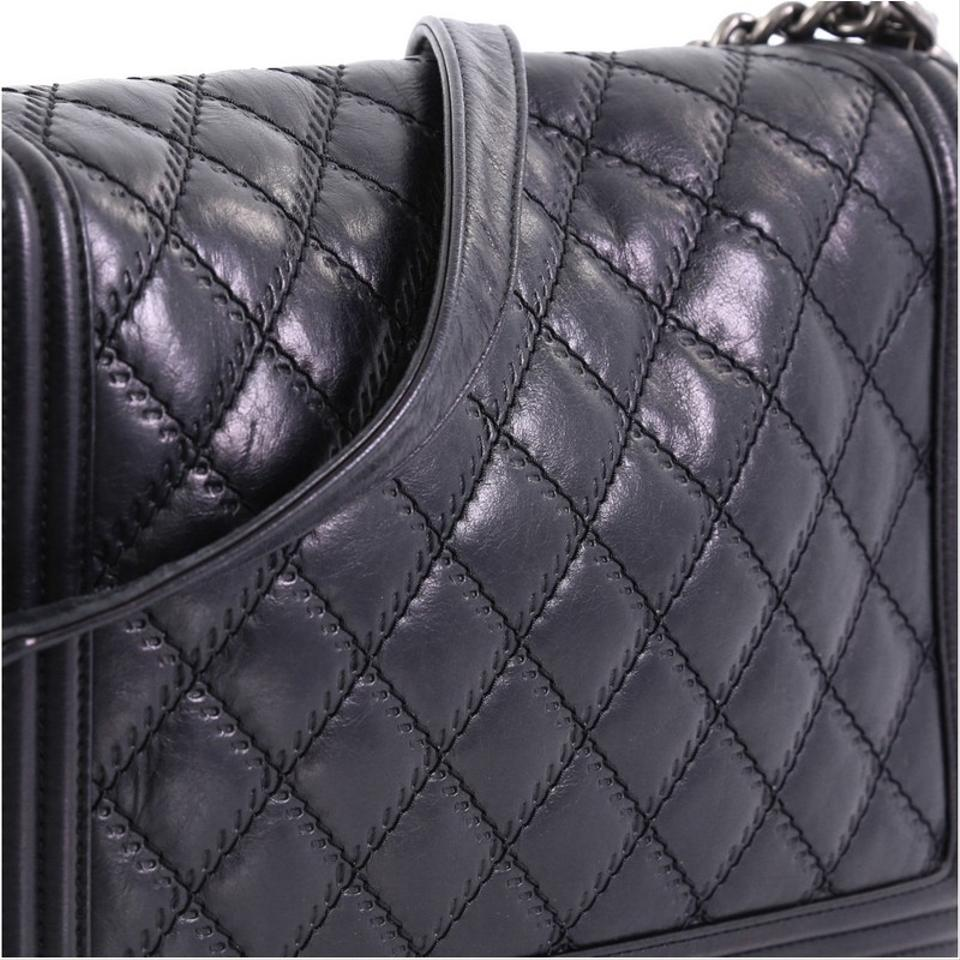 b9843089f17403 Chanel Classic Flap Boy Double Stitch Quilted Large Black Calfskin ...