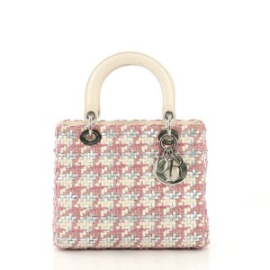 Dior Christian Lady Leather Tweed Tote in Pink