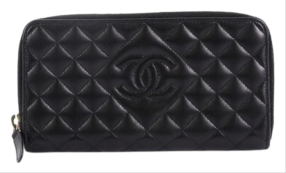 877263afd9cd Chanel Diamond Cc Zip Wallet Quilted Long Black Calfskin Clutch ...