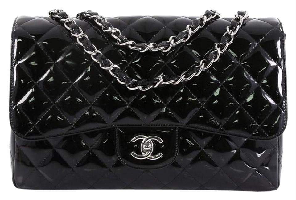8713eac4918f Chanel Classic Flap Classic Single Quilted Jumbo Black Patent Leather  Shoulder Bag