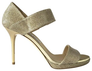 Jimmy Choo Alana Lame Glitter Peep Toe Gold Pumps