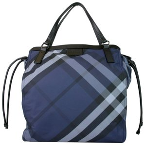 Burberry Nylon Packable Tote in Navy Blue