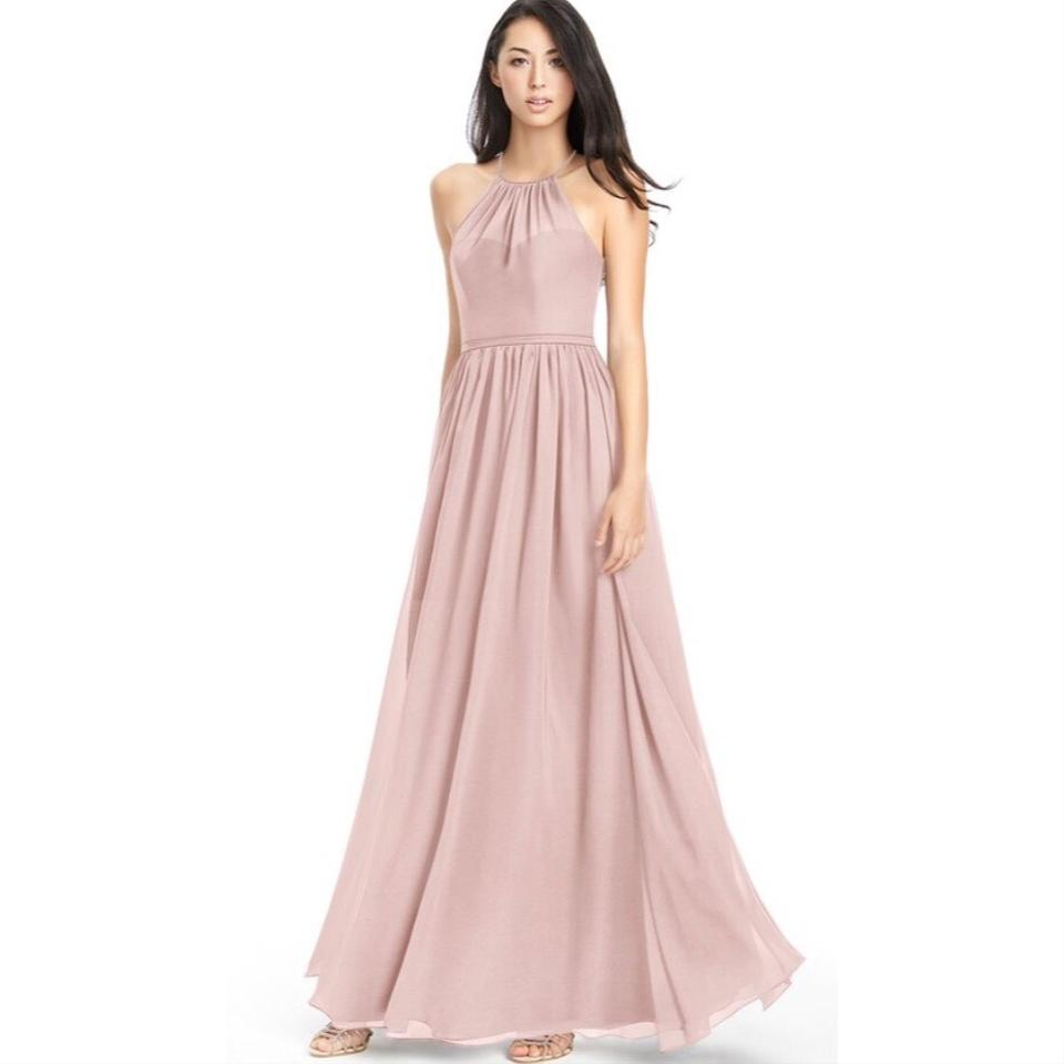 057074e7e6d Azazie Dusty Rose Chiffon Kailyn High Neck Strappy Back Gown Feminine  Bridesmaid Mob Dress Size ...