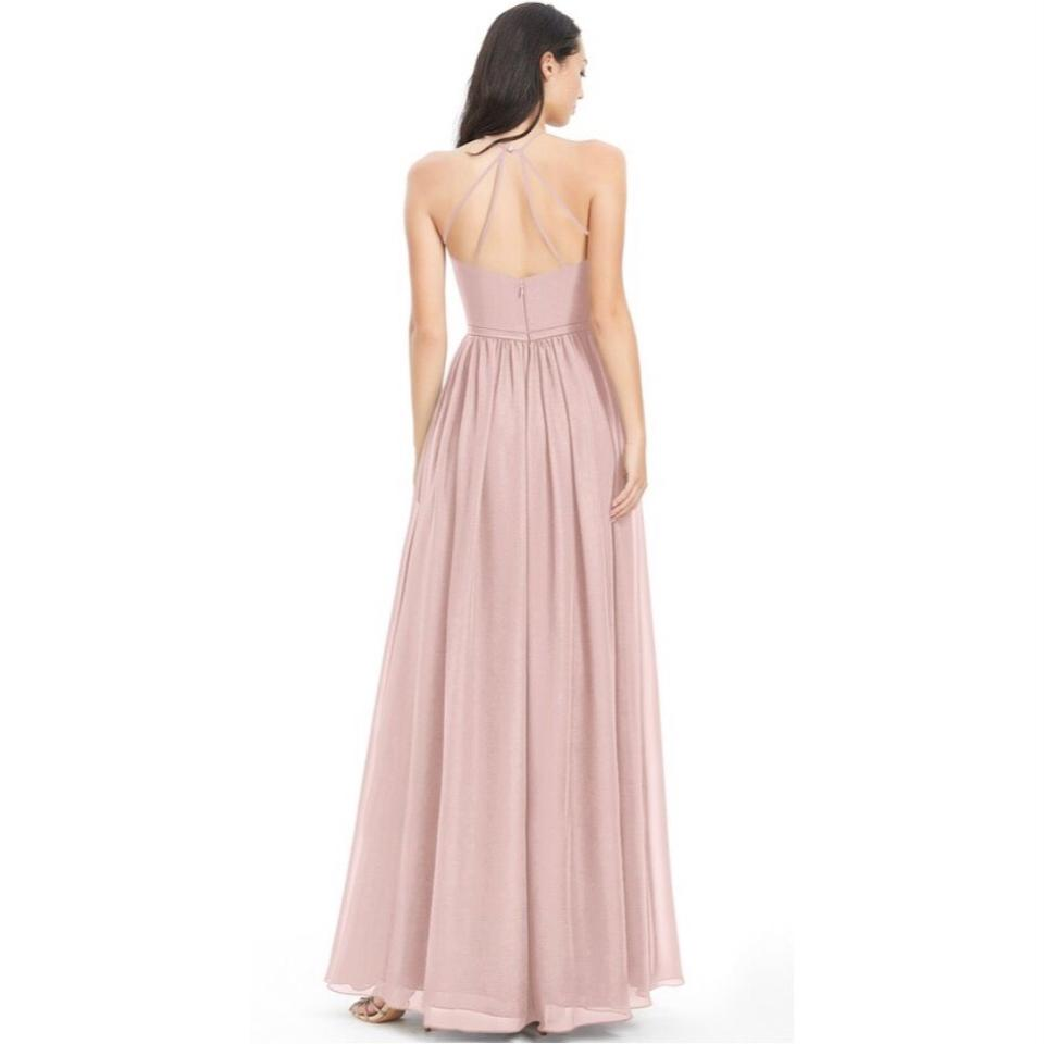 b880e435e07 Azazie Dusty Rose Chiffon Kailyn High Neck Strappy Back Gown ...