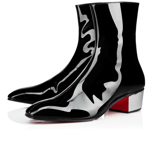 Christian Louboutin Black Palace Donna 40 Patent Leather Silver Disco Heel Boots/Booties Size EU 37.5 (Approx. US 7.5) Regular (M, B) Christian Louboutin Black Palace Donna 40 Patent Leather Silver Disco Heel Boots/Booties Size EU 37.5 (Approx. US 7.5) Regular (M, B) Image 1