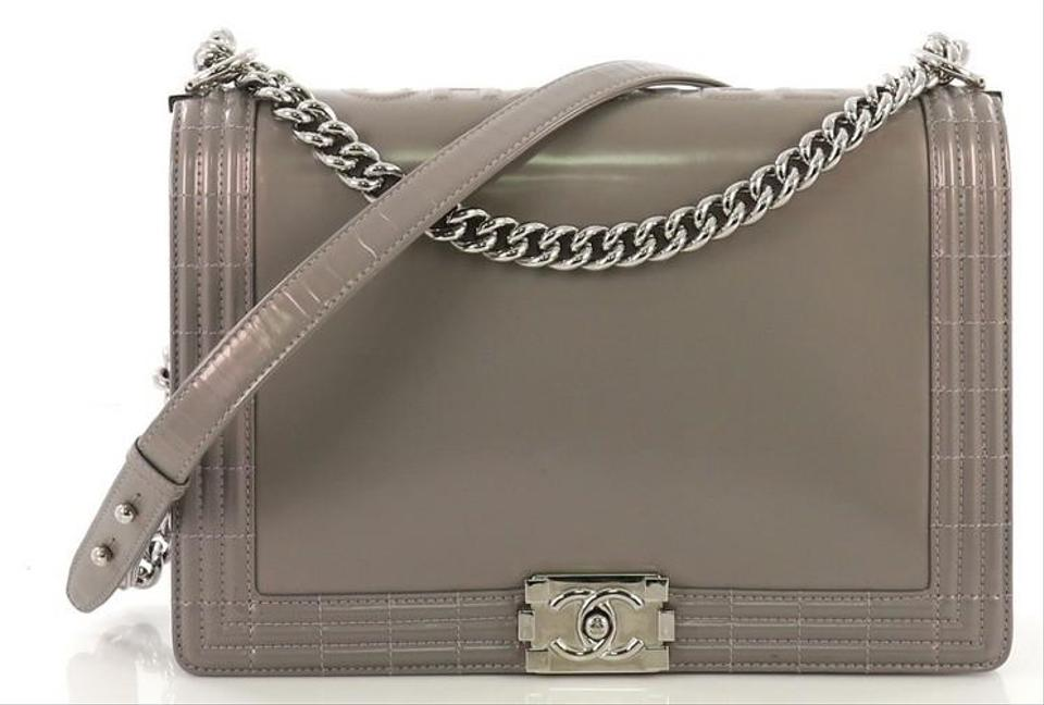 983402626b7c Chanel Classic Flap Boy Reverso Glazed Large Gray Calfskin Leather Shoulder  Bag