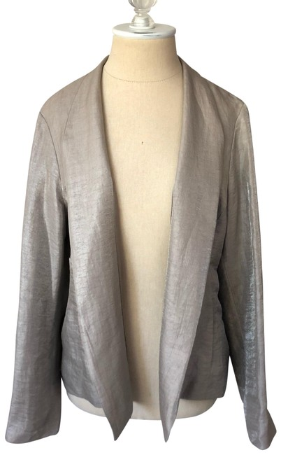 Eileen Fisher Tan Metallic Linen Jacket Size Petite 8 (M) Eileen Fisher Tan Metallic Linen Jacket Size Petite 8 (M) Image 1