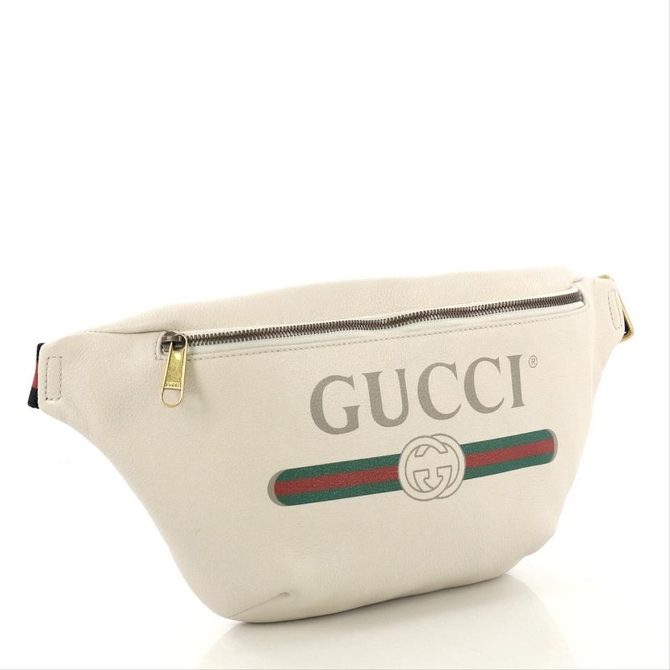 3dd573ba2b822e Gucci Logo Belt Printed Medium Off-white Leather Baguette - Tradesy